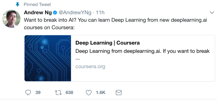 Coursera: Andrew Ng's new Deep Learning course – Machine